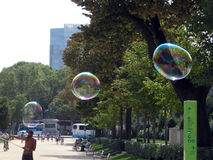 Bubble blower in a Barcelona park Spain Stock Images