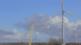 Bubble blower, dog and windmills stock video