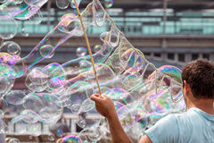 Bubble Blowing Street Entertainer Royalty Free Stock Photos