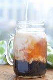 Bubble boba tea. With milk and tapioca pearls royalty free stock photos