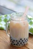 Bubble boba tea. With milk and tapioca pearls stock image
