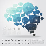 Bubble brain geometry with business icon Stock Photography