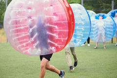Bubble bump. Team game outdoor. Fun for teenagers stock image