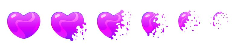 Bubble burst sprites for animation. Vector cartoon style set of game heart shape ultraviolet bubble burst sprites for animation. Game user interface GUI element Stock Photo