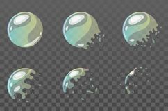 Bubble burst sprites for animation. Vector cartoon style set of game soap round bubble burst sprites for animation. Game user interface GUI element for video stock illustration