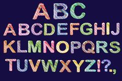 Bubble cartoon of fonts . Colorful 3d jelly alphabet for kids. Diagonal pattern stripe . Isolated. Vector Stock Image