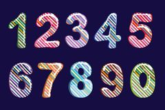 Bubble cartoon of fonts . Colorful 3d jelly numbers for kids. Diagonal pattern stripe . Isolated. Vector. Illustration Stock Image