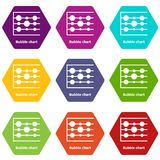 Bubble chart icons set 9 vector. Bubble chart icons 9 set coloful isolated on white for web Royalty Free Stock Photos