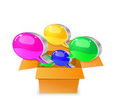 Bubble chat boxes  out from carton box Royalty Free Stock Images