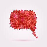 Bubble Chat Composed from Red Shiny Leaves Stock Photo