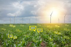 The bubble chat data the detect. By futuristic technology in smart agriculture with artificial intelligence to improving yield, efficiency, and profitability in royalty free stock photography