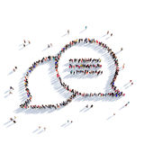 Bubble chat message people 3d. Large and creative group of people gathered together in the form of a bubble chat, message 3D illustration, isolated against a Stock Photography