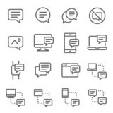 Bubble Chat Message Vector Line Icon Set. Contains such Icons as Conversation, SMS, Notification, Communication and more. Expanded. Stroke royalty free illustration