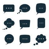 Bubble dialog box message icons set on white background, cartoon Royalty Free Stock Image