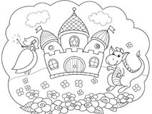 Bubble is a dream. The story of the princess, the dragon and the castle. A childrens fairy tale. Vector storybook. Stock Photos