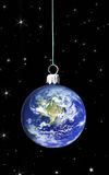 Bubble earth. Bubble with earth within in the middle of space Royalty Free Stock Photography