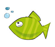 Bubble fish. A little green fish who's wondering where those bubbles came from royalty free illustration