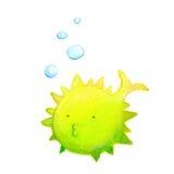 Bubble fish. Funny comic puffy bubble fish Royalty Free Stock Image