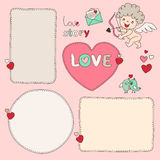 Bubble form Heart and cupid. Set of hand drawn dashed line boxes. Doodle style. Stock Photography