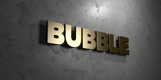 Bubble - Gold sign mounted on glossy marble wall  - 3D rendered royalty free stock illustration Royalty Free Stock Photography