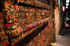 Bubble Gum Alley. An alleyway at night with thousands of gum stuck on the walls Royalty Free Stock Photos