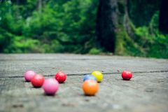 Bubble gum balls in the forest Stock Images