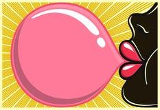 Bubble gum black girl blowing bubblegum  illustration 80s style. Bubble gum black girl: african girl with red lipstick blowing bubblegum  illustration, flyer Royalty Free Stock Image