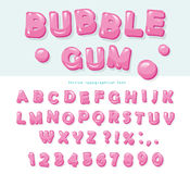 Bubble gum font design. Sweet ABC letters and numbers. Royalty Free Stock Images