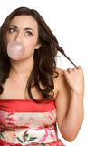 Bubble Gum Girl. Beautiful girl blowing bubble gum Stock Images