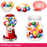 Bubble gum images. Collection of different, colorful and bright bubble gum images - icons Royalty Free Stock Photos