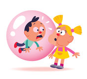 Bubble gum kids. Little girl blowing a big bubble gum bubble Stock Photos