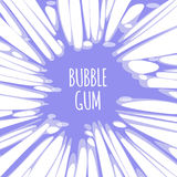 Bubble gum purple background with burst of chewing candy. With text. Backdrop with splatter of bubblegum sugar treat, boom of ball vector illustration