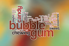 Bubble gum word cloud concept with candy chewing related tags Stock Photos
