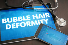 Bubble hair deformity (cutaneous disease) diagnosis medical concept on tablet screen with stethoscope.  stock images