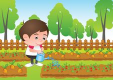 a bubble head boy cartoon water the plant in the garden,surround with fresh and green nature vector illustration