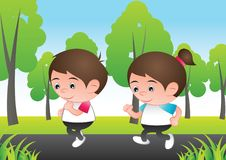Bubble head boy and girl cartoon jogging run at city nature back stock photography