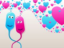 Bubble-heads in love Royalty Free Stock Images