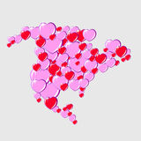 Bubble Hearts Map of North America Stock Images