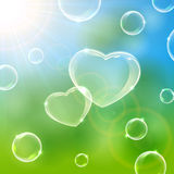 Bubble hearts. Sunny Valentines background with soap bubbles in the form of Hearts, illustration Royalty Free Stock Photo