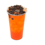 Bubble ice tea red plum in takeaway glass Royalty Free Stock Images