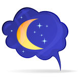 Bubble with the moon and stars - an icon. eps10 Stock Photo