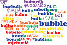 Bubble multilanguage wordcloud background concept Royalty Free Stock Images