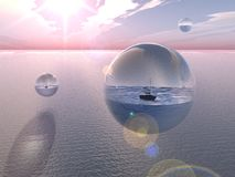 Bubble Oceans. Drift across the mighty expanse of the Pacific Stock Photo