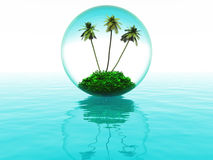 Bubble with palm trees Royalty Free Stock Photography