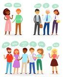 Bubble people vector bubbling speech communication and group of man woman friends discussion illustration set of person. Adult businessman speaking chat message royalty free illustration