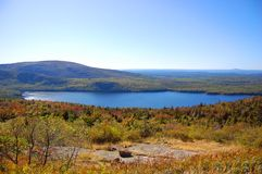 Acadia National Park, Maine, USA. Bubble Pond of Acadia National Park panorama, Cadillac Summit, Maine, USA Royalty Free Stock Images