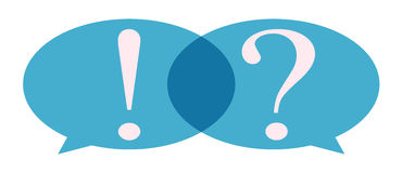 Bubble with question mark and exclamation mark. Speech Bubble with question mark and exclamation mark Stock Photo