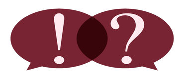 Bubble with question mark and exclamation mark. Speech Bubble with question mark and exclamation mark Stock Photos