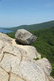 Bubble Rock on top of the South Bubble Mountain At Acadia National Park in Maine Stock Images