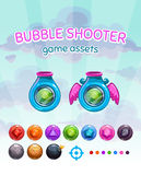 Bubble shooter game assets. Vector gui elements kit on cloudy sky background, shoot machines and colorful glossy gem missiles for game development vector illustration
